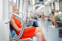 Lady traveling by metro. Royalty Free Stock Photos