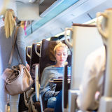 Lady traveling by train. Royalty Free Stock Photography