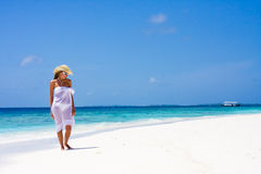 Lady on a tropical beach Royalty Free Stock Photo