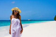Lady on a tropical beach Stock Images