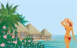Lady at a tropical resort Royalty Free Stock Photos