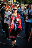 Lady With Turkish Flag On Gassed Man Festival Stock Images