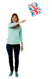 Lady UK supporter waving national flag Stock Images