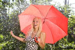 Lady with umbrella Royalty Free Stock Photography