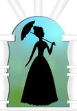 Lady with umbrella in gate, a silhouette in garden Stock Photography