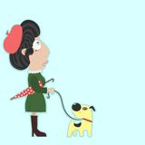 Lady with umbrella walking a dog in good weather. Royalty Free Stock Photo