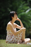 Lady under the sun stock images