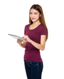 Lady use of tablet Stock Image