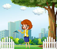 A lady using a cellular phone outside the office. Illustration of a lady using a cellular phone outside the office vector illustration