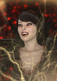 Lady Vamp. 3D digital render of a beautiful lady vamp on a magic sky background Royalty Free Stock Photos