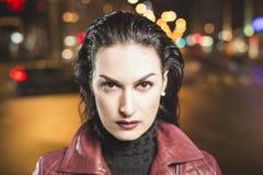 Lady vamp portrait on a city bokeh background Royalty Free Stock Image