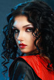 Lady Vamp Style. D make up. Beautiful teen fashion model close-up Portrait Stock Photos