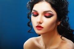 Lady Vamp Style. D make up. Beautiful teen fashion model close-up Portrait Stock Photo