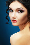Lady Vamp Style. D make up. Beautiful teen fashion model close-up Portrait Stock Images