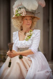 Lady in Victorian dress. With fan. June 15, 2014, A day in the 700 - Association of Italian Marie Antoinette, Villa Sorra, Castelfranco Emilia - Italy Royalty Free Stock Images