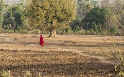 Lady on village path Stock Photos