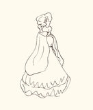 Lady in vintage dress, sketchy woman silhouette  Royalty Free Stock Photography