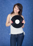 Lady with vinyl record Royalty Free Stock Image