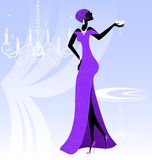 Lady in violet. On an abstract blue background is stylish lady in violet Royalty Free Stock Photo
