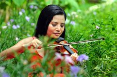 Lady with a Violin Stock Photos