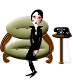 Lady in waiting. Illustration of a lady in waiting Stock Photo