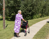 Lady with a walker. Elderly lady with a walker Royalty Free Stock Image