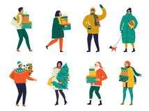 Lady walking with dog carry a Christmas box. Merry Christmas and Happy New Year.Merry Christmas greeting card with people walking stock illustration