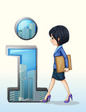 A lady walking towards the number one symbol. Illustration of a lady walking towards the number one symbol on a white background Stock Images