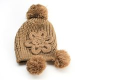 Lady warm hat. Is on white background Royalty Free Stock Image