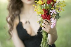 Lady offers you a bouquet of wild flowers Stock Photography