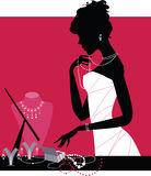 Lady wearing accessories. Vector illustration of a lady wearing jewelery vector illustration