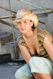 Lady wearing cowboy hat Stock Photo