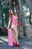Lady wearing elegant long dress Royalty Free Stock Images