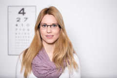 Lady wearing glasses. Image of lady with myopia wearing glasses stock images
