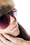 Lady wearing sunglasses with sugar lips Royalty Free Stock Photography