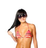 Lady wearing swimsuit isolated on white Stock Images