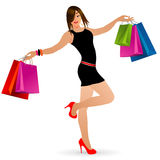 Lady went shopping Stock Image