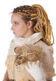 Lady in white dress with dreadlocks Stock Photos