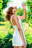 Lady in white Stock Images