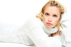 Lady in white sweater royalty free stock images