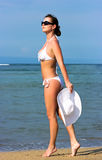 Lady in white swimsuit Royalty Free Stock Images