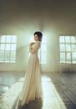 Lady in white vintage dress Stock Photos