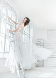 Lady in white vintage dress Stock Image