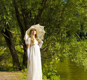 Lady in white Royalty Free Stock Photos