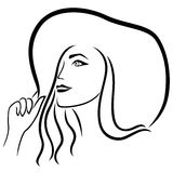 Lady in the wide-brimmed hat. Dreamy beautiful young lady in the wide-brimmed hat, vector outline Stock Illustration