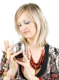 Lady and wine. Royalty Free Stock Photography