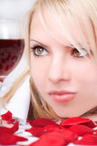 Lady with wine Stock Photography
