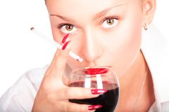 Lady with wine Royalty Free Stock Image