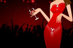 Lady with Wine Glass royalty free illustration