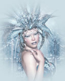 Lady Winter. Computer graphics fantasy portrait of a girl with winter makeup Stock Photo